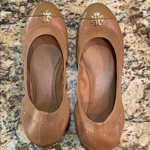 Tory Burch Jolie Cap Toe Leather Ballet Flats